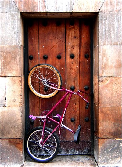 Picture Of Bicycle And Old Door