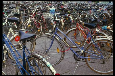 Picture Of Bicycles At The Train Station In Germany