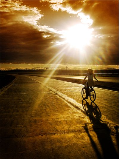 Picture Of Cycling On Sunset