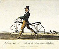 Picture Of Denis Johnson's Son Riding A Velocipede Lithograph 1819