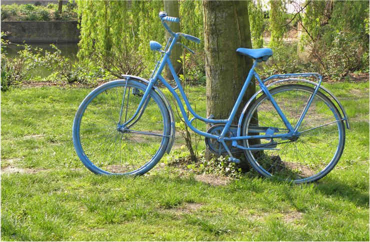 Picture Of Old Blue Bicycle