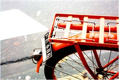 Picture Of Orange Red Bicycle