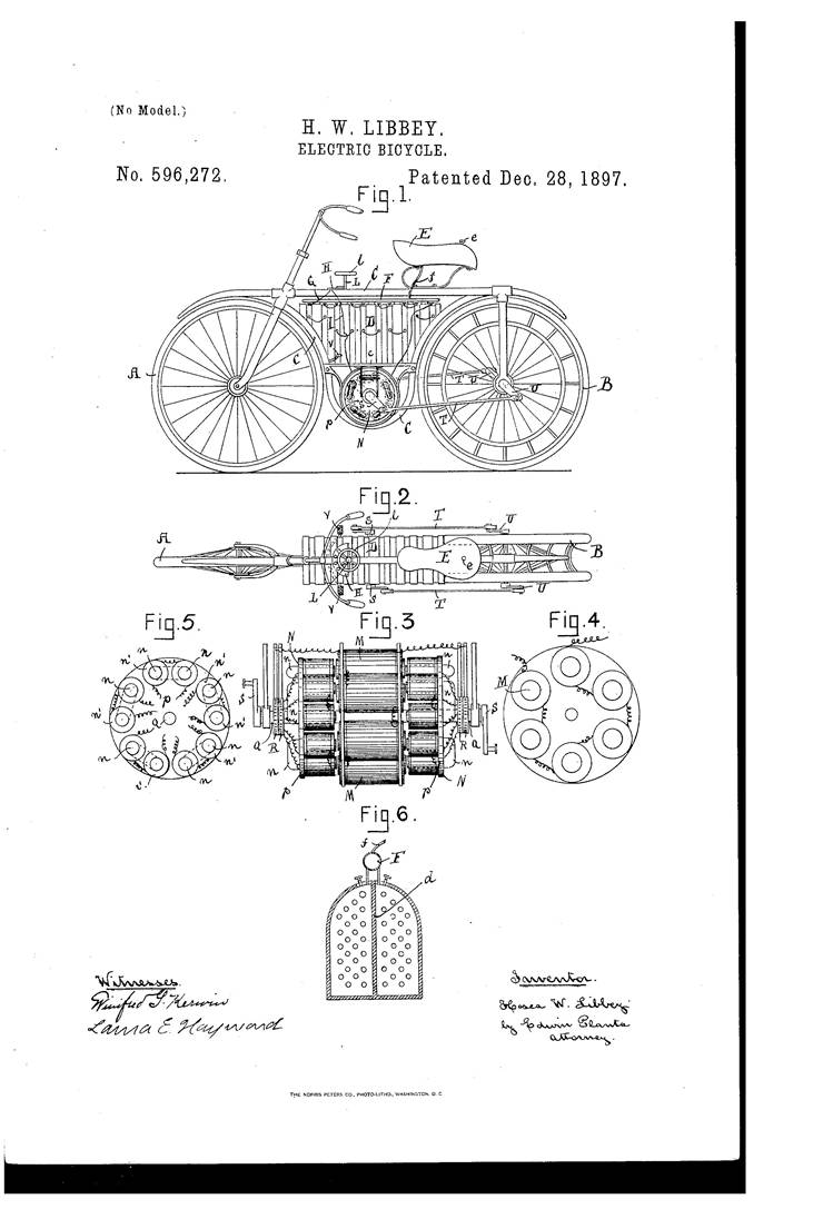 Picture Of Patent Drawing For  Electric Bicycle 1895