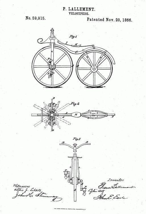 Picture Of Pierre Lallement Bicycle Patent 1866
