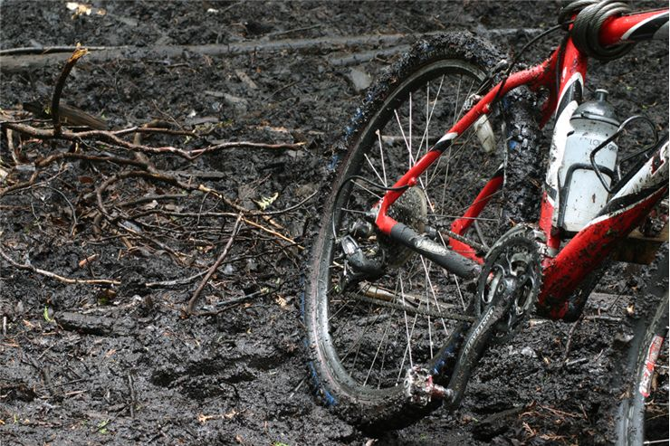 Picture Of Red Mud Mountain Bike