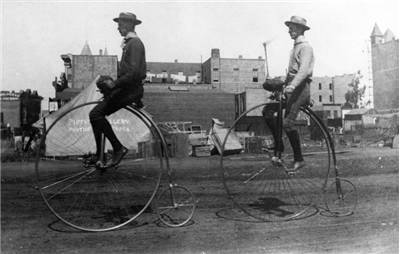 Picture Of Two Men Ride Penny Farthings 1886