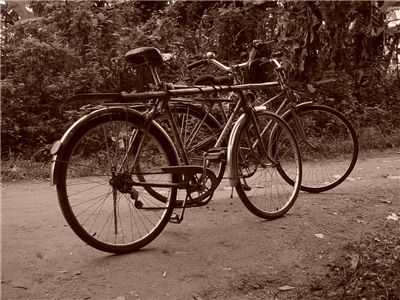 Picture Of Two Old Bicycles